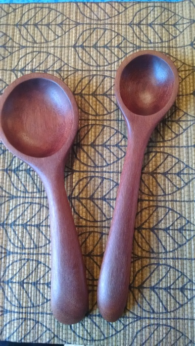 Two spoons made from the pallet wood: Indonesian mahogany.