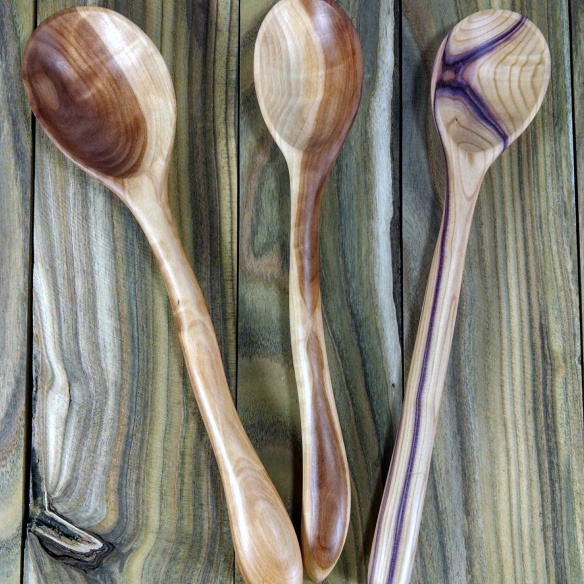 lilac and apple spoons